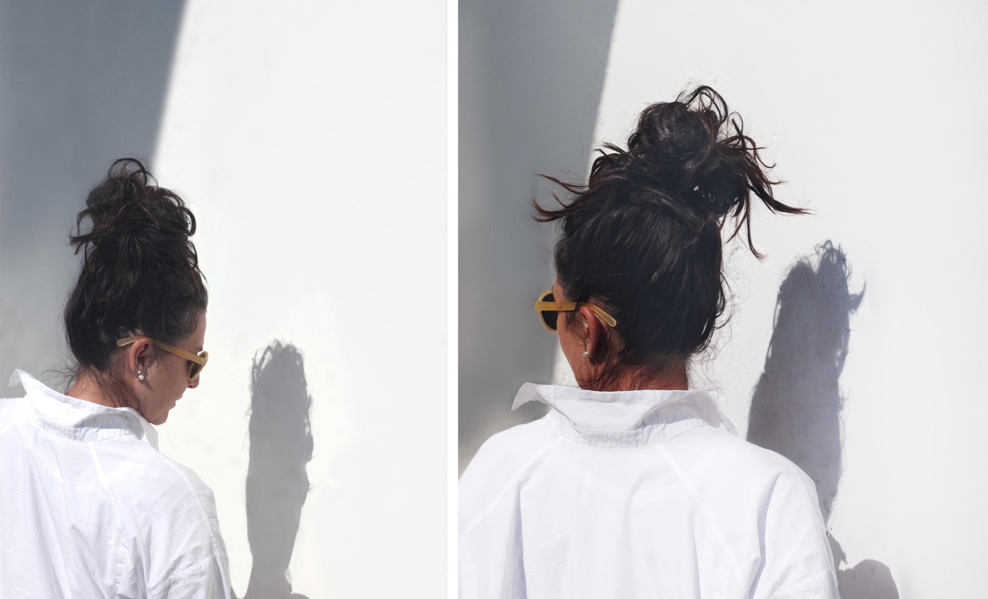 Haare grauen strähnen mit schwarze Schluss mit